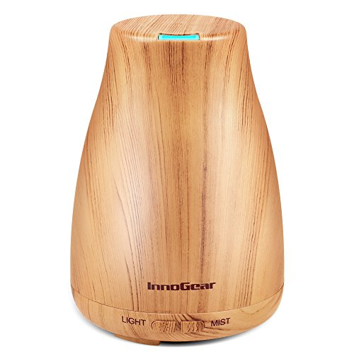 - InnoGear Upgraded Wood Grain Aromatherapy Essential Oil Diffuser Ultrasonic Diffusers Cool Mist Humidifier with 7 Colors LED Lights and Waterless Auto Shut-Off for Home Office Bedroom
