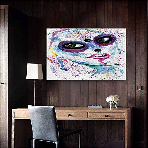 duommhome Girls Modern Frameless Painting Grunge Halloween Lady with Sugar Skull Make Up Creepy Dead Face Gothic Woman Artsy Bedroom Bedside Painting 20