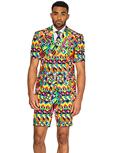 (OppoSuits Men's Summer Suit - Abstractive - Includes Shorts, Short-Sleeved Jacket & Tie)