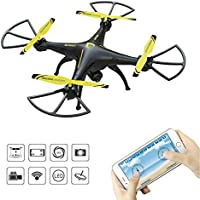 RC Quadcopter Drone with HD WiFi Camera,Drone with WiFi FPV Camera, SOPOW LS-126W RC Quadcopter Drone with HD WiFi Camera, Hover/Altitude Hold Feature, 3D Flips, Newest model of 2017 – Yellow