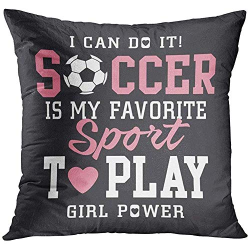 Academy Soccer Ball - Throw Pillow Cover Pink Sport Soccer Football Girl Tee Graphics Vectors Team Academy Decorative Pillow Case Home Decor Square 18x18 Inches Pillowcase