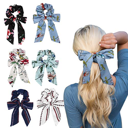 Jaciya 6 Pieces Scrunchies for Hair with Bow, Hair Scrunchies, Silk Scrunchies, Satin Scrunchies, Bow Scrunchies for Hair, Hair Scrunchies for Women, Cute Scrunchies, Big Scrunchies, 6 Pack of Scrunch
