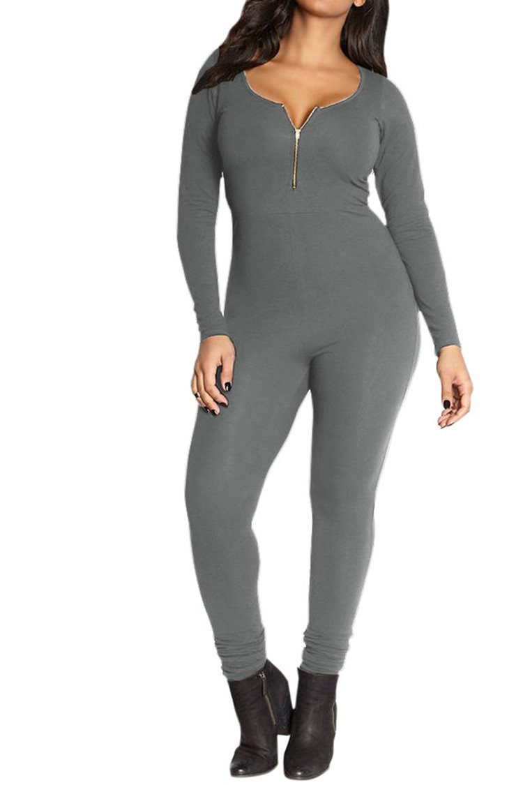 Fixmatti Womens Zip up V Long Sleeve Bodycon Cotton Long Pant Sport Jumpsuit Romper Grey XL by Fixmatti (Image #1)