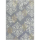Cheap Maples Rugs Area Rugs – Eleanor 5 x 7 Non Slip Large Rug [Made in USA] for Living Room, Bedroom, and Dining Room, Grey