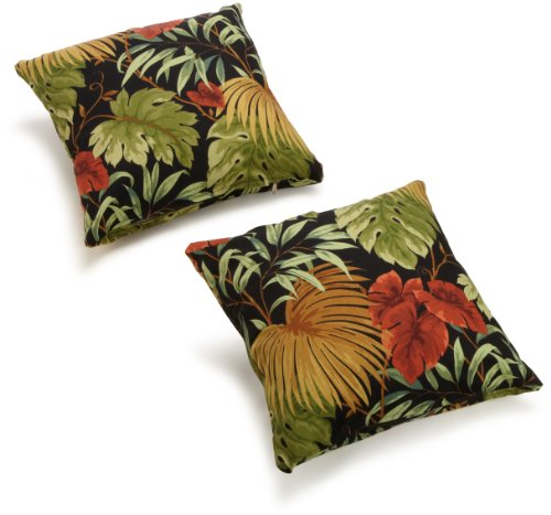 Blazing Needles Indoor/Outdoor Spun Poly 20-Inch by 20-Inch by 6-Inch Throw Pillow, Tropique Raven, Set of 2