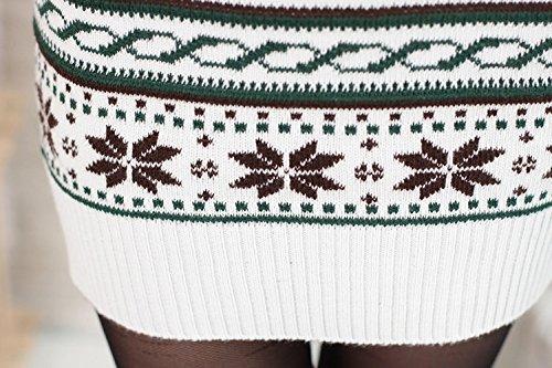 Mujer Navidad De Punto Reno Novedad Jersey Túnica Jersey Slim copo de nieve Jersey Vestido mujer blanco