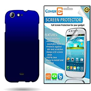 CoverON« Blue One Life L120 Hard Rubberized Slim Case Cover Bundle with Clear Anti-Glare LCD Screen Protector - Blue