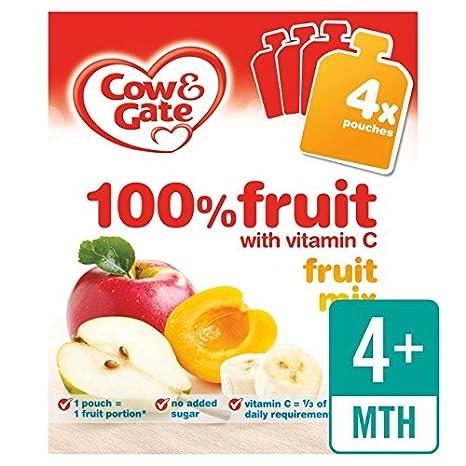 Cow & Gate 4 mess + Cocktail de frutas 100% bolsas de frutas 4 x ...