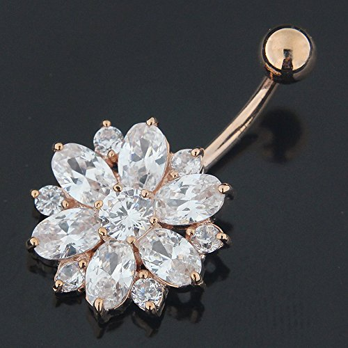 Rose Gold Plated Clear CZ Stone Double Layer Flower 925 Sterling Silver Belly Button Piercing Ring by AtoZ Piercing (Image #2)