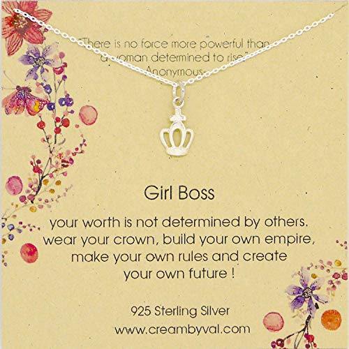 Girl Boss Crown Sterling Silver Necklace - 16'' Length