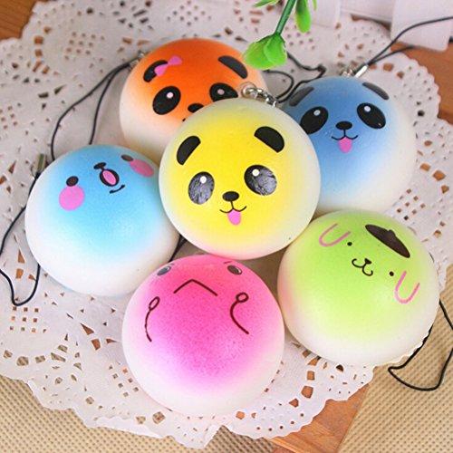 LIGONG Squishy Toys,Cute Slow Rising Squishies,Stress Relief Super Soft Bun Kawaii Smiley Face Expression 4CM(Random (Squishy Shop)