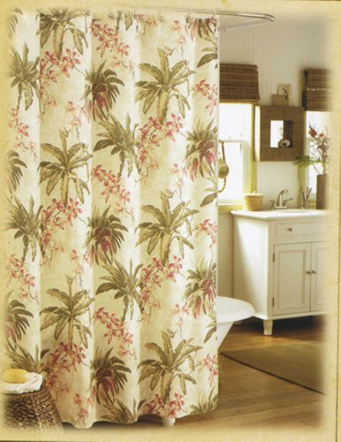 Tommy Bahama Home Bonny Cove Fabric Shower Curtain Tropical Palm Trees Flowers On Ivory By