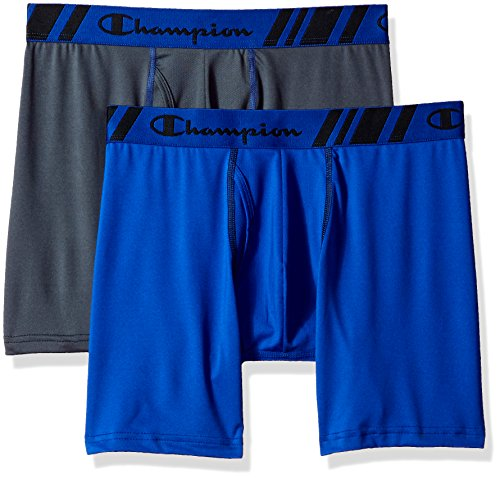 Champion Men's Tech Performance Boxer Brief Stealth, Stealth/Surf The Web, Medium
