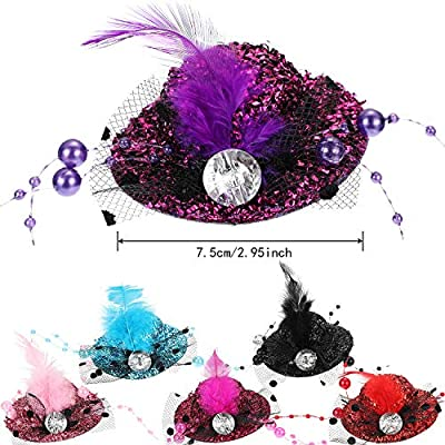 Patelai 12 Pieces Mini Hat Hair Clip Shining Hair Clip with Faux Feather Hair Accessory for Kids, 6 Styles