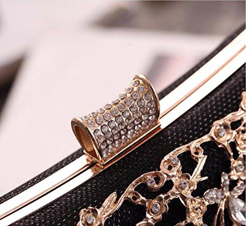 roja Cena diamantes ahuecado las Banquete alfombra y bolsas bolsas Bolsos bolsos americanas europeas mujeres champagne de Black XJTNLB Color wxCg6q8FE