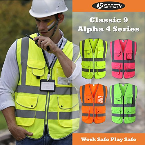 JKSafety 9 Pockets Class 2 High Visibility Zipper Front Safety Vest With Reflective Strips, Meets ANSI/ISEA Standards (Medium, Pink) by JKSafety (Image #5)
