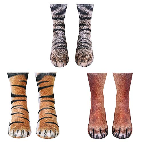 ATROPOS 3 Pair Animal Paw Socks-Unisex 3D Printed Socks Novelty Animal Paws Crew Socks for Men Women Kids (Adult)