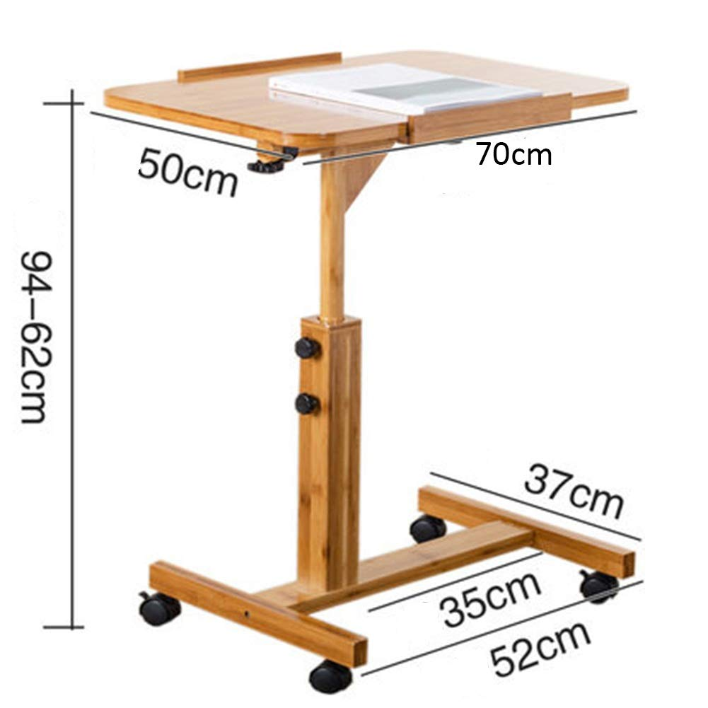 Bamboo color 705062---94cm ZHAOYONGLI Tables,Coffee Tables Laptop Desk Side Snack End Table for Coffee Bed Sofa Eating Writing Reading Living Room (color   Bamboo color, Size   60  40  62-94cm)