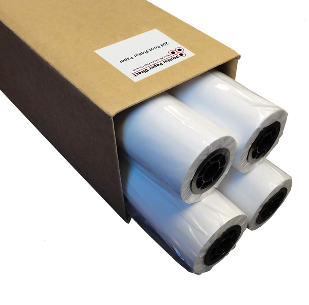Plotter Paper 24 x 150: Box of 4-24'' x 150 ft. Rolls, 20 lb. Bond Paper on 2'' Core. for CAD Printing on Wide Format Ink Jet Printers. by Plotter Paper Direct