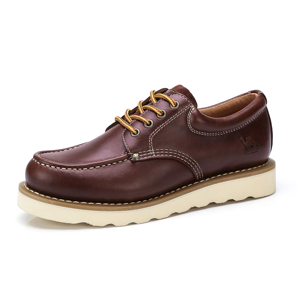 CAMEL CROWN Zapatos de Trabajo de Cuero para Hombres Botas No de Seguridad con Cordones de Corte bajo Zapatos de Vestir de Oxford Ocasionales