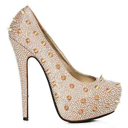 Concealed Platform Stiletto High Heeled Spiky Studded Court Shoes CHAMP SATIN 5kkfAesa9a