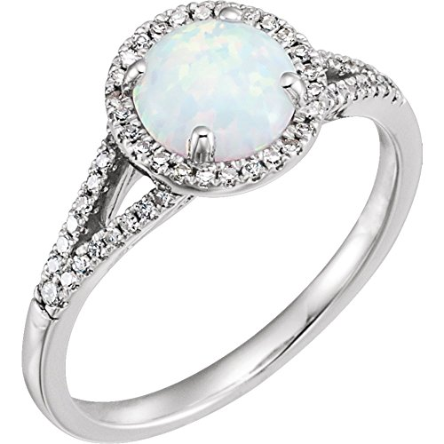 Jewels By Lux 14k White Gold Created Opal & 1/6 CTW Diamond Ring Size ()