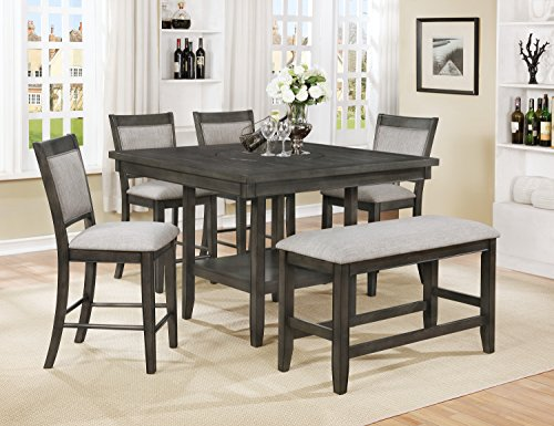 OS Home and Office Model 2727Kb Counter Height Table with Four Upholstered Chairs and One Bench Dining Set, Casual Grey