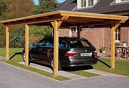 SKAN HOLZ Europe Gmbh Cabaña Madera CarPort Emsland 404 x 846 cm cola para madera con abstell habitación: Amazon.es: Jardín
