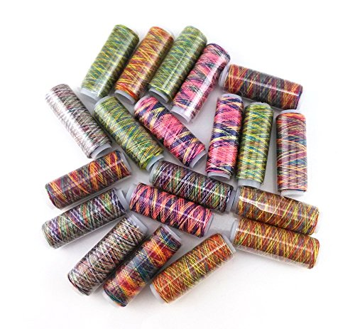 yueton 20 Spools 120 Yard Per Unit Gradient Color Rainbow Polyester Sewing -