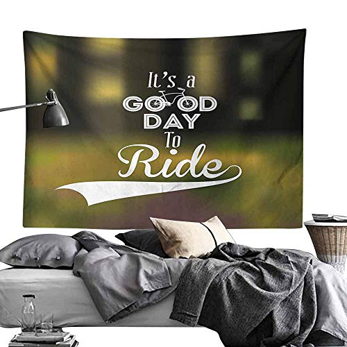 (Hall Tapestry Vintage Retro Text and Bicycles Design on Abstract Blurry Background Inspirational Artwork Bedroom Home Decor W93 x L70 Multicolor)