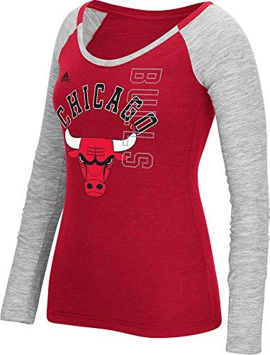 NBA Chicago Bulls Women's Team Liquid Dots Long Sleeve Slub Tee, Large, Red