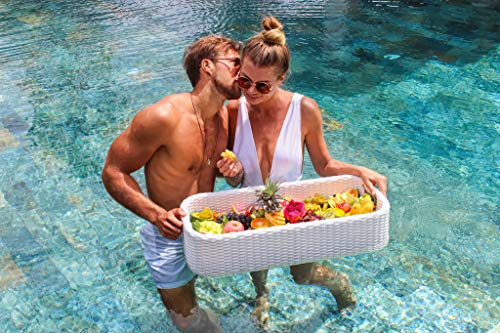 Luxury Floating Serving Tray Table and Bar - Swimming Pool Floats for Adults for Sandbars, Spas, Bath, and Parties   Floating Tray for Pool Serving Drinks, Brunch, Food on the Water
