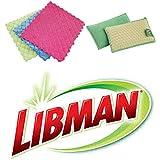 (2) Libman Scrub Dots Sponge Scrubbers Plus (3) Microfiber Quilted Sponge Cloths