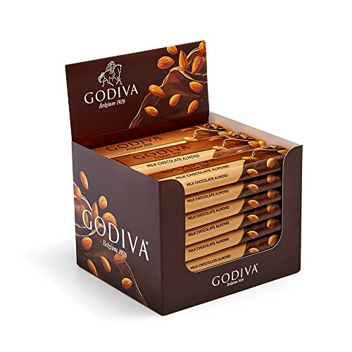 Godiva Chocolatier Belgium Milk Chocolate with Almond Bar Gift, Great as a Gift, Chocolate Bars, Chocolate Treats, 24 Pack