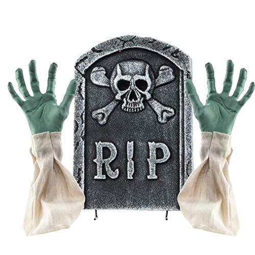 2 in 1 Spooky Halloween Graveyard Decorations Tombstone with Zombie Hands & -