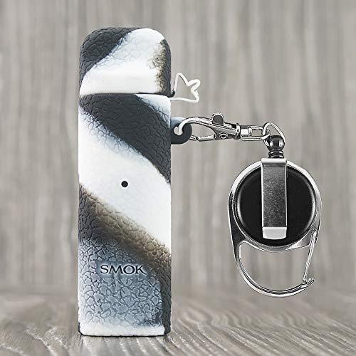 Nova Key - CEOKS for Smok Novo Silicone Case with Keychain Anti-Loss Holder Carrying case Rubber Skin wrap (Black/White)