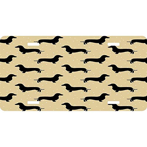 Short Hair Dachshund Cream Pattern Sausage Dog Custom Personalized Vanity License Plates, Front License Auto Tag, Car Accessories ()