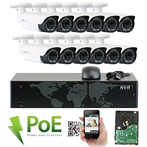 GW Security 16 Channel 4K NVR HD 1920P IP PoE Security Camera System with 12 Outdoor/Indoor 2.8-12mm Varifocal Zoom 5.0 Megapixel 1920P Cameras, QR Code Easy Setup, Free Remote View