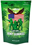 Happy Bites Green Apple Army Gummies - American Military Heroes - Gluten Free, Fat Free & Dairy Free (Resealable 1 Pound Bag)