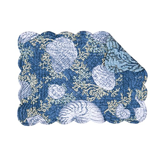 Places Springs Coral (Set of 4 CAPE CORAL Quilted Reversible Placemat by C&F - Coastal, Seashells - Indigo)