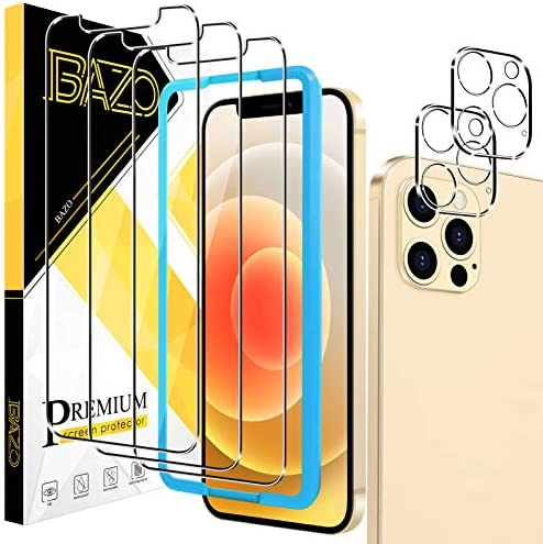 [3+2 Pack] BAZO Screen Protector and Camera Lens Protector Compatible for iPhone 12 Pro Max (6.7 inch), [Easy Installation Frame] [Anti-Scratch] [Case Friendly] 9H Hardness HD Clear Film