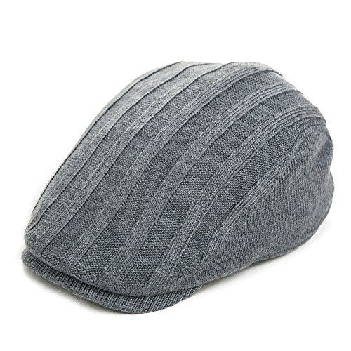 SIGGI Wool Newsboy Cap Mens Winter Hat Fitted Hunting Ivy Flat Cap British Drivers Cap Gray Grey