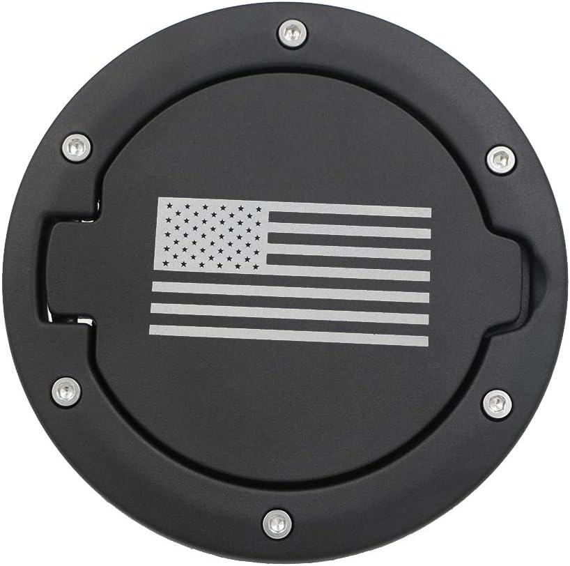 US Flag Gas Cap Gas Tank Cap Fuel Filler Door Cover Accessories for Jeep Wrangler 2007-2017 JK /& Unlimited Sport Rubicon Sahara