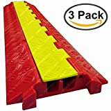 The Falcon - Heavy Duty Polyurethane Cable Protector - 2 Channel - Orange base, Yellow lid (3 Pack)