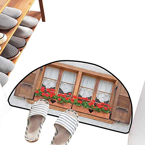 - Axbkl Outdoor Door mat Country Print of Old European Windows with Shutters and Flowers Pots in Rurals Boho Non-Slip Backing W24 xL16 Brown White Red