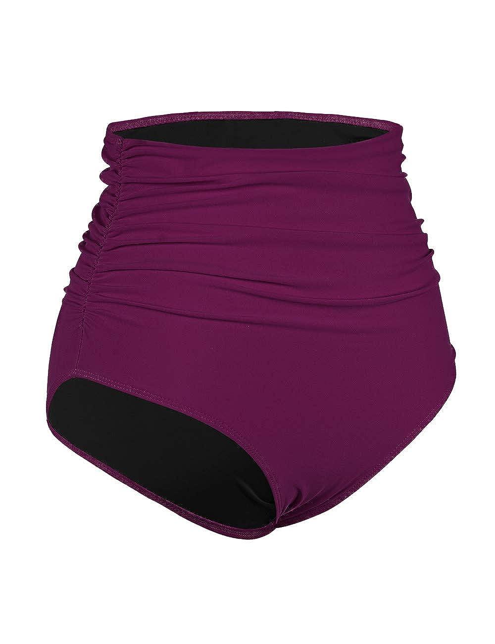 Hilor Womens High Waisted Bikini Bottom Shirred Hispter Tankini Briefs Swim Shorts