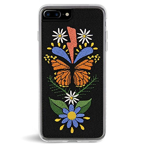 Case Embroidered Phone (Zero Gravity Case Compatible with iPhone 7 Plus/8 Plus - Monarch - Embroidered Butterfly - 360° Protection, Drop Test Approved)