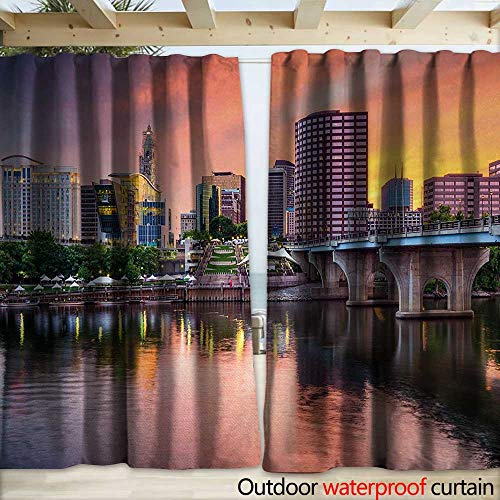 warmfamily United States Blackout Curtain Water Reflection in Evening Urban City Hartford Connecticut Tranquil Sunset W120 x L96 Multicolor