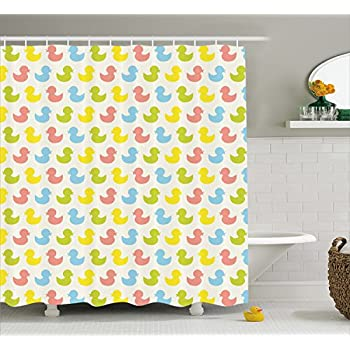 Rubber Duck Shower Curtain Set By Ambesonne, Colorful Ducklings Baby  Animals Theme Pastel Girls Boys