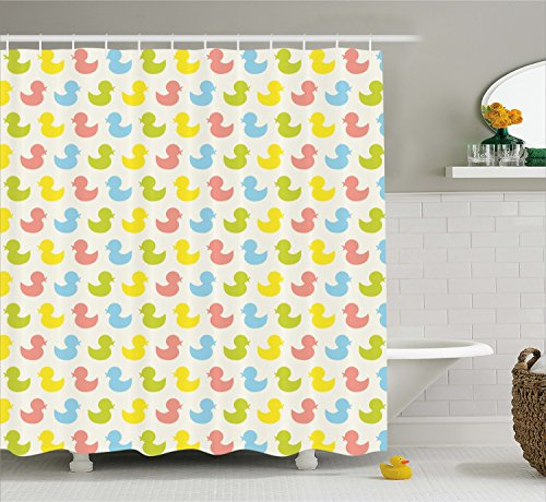 Ambesonne Rubber Duck Shower Curtain Set, Colorful Ducklings Baby Animals Theme Pastel Girls Boys Newborn Pattern, Fabric Bathroom Decor with Hooks, 75 Inches Long, Pink Blue Green Yellow -